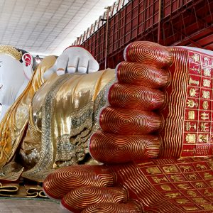 Reclinado pagados templos Yangon